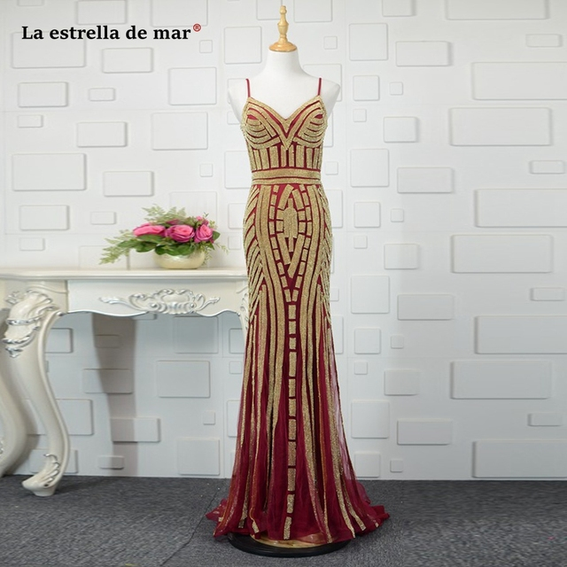 vestido formatura2018 lace crystal sexy mermaid Burgundy Gold prom dresses long luxurious gala jurken real photo evening dress