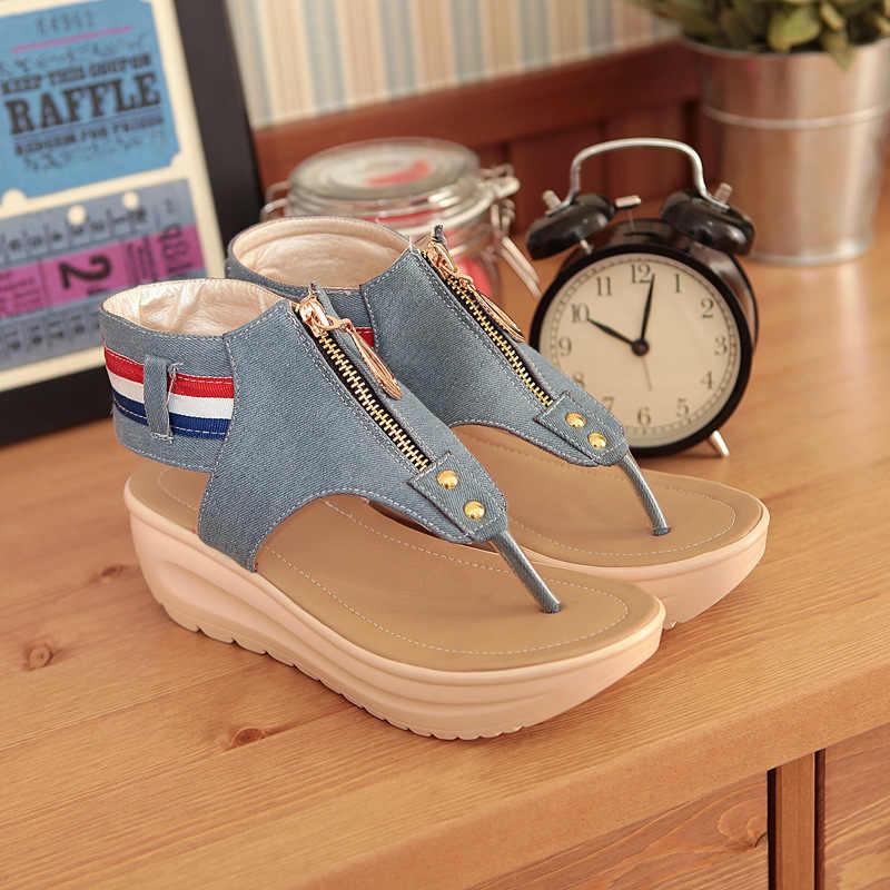 Kadın Sandalet Zip Denim Takozlar Ayakkabı Yaz plaj ayakkabısı Moda platform sandaletler Bayan Ayakkabıları Kadın Sandalie Flip Flop Sürüngen