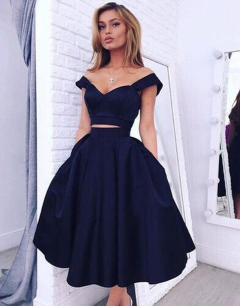 Navy Blue 2019 Homecoming Dresses A-line Off The Shoulder Tea Length Two Pieces Elegant Cocktail Dresses
