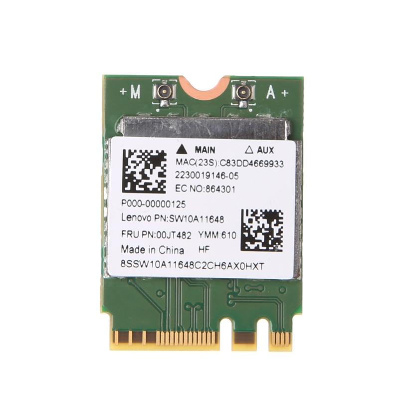 New Wireless Card 2.4+5 GHz 433M Bluetooth V4.0 NGFF M.2 Wireless Card For RTL8821AE AW-CB161H Hot