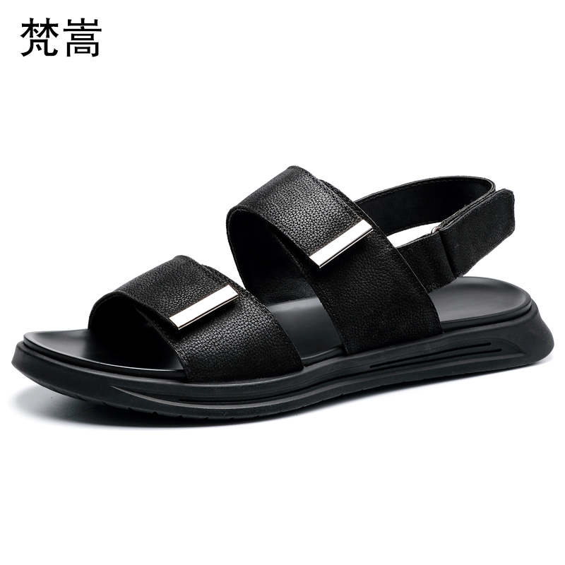 Roman leather sandals men 2019 youth beach shoes mens trend soft summer outdoor mens gladiator sandals summer genuine leather in Men 39 s Sandals from Shoes