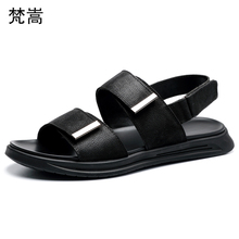 Roman leather sandals men 2019 youth beach shoes mens trend soft summer outdoor gladiator genuine