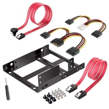 Dual SSD HDD Montagebeugel 3.5 tot 2.5 Interne Harde Schijf Kit Kabels 2.5 harde schijf tot 3.5 bay tray caddy