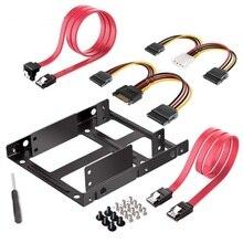 Suporte de montagem de 3.5 ssd hdd duplo, kit de cabos 2.5 disco rígido interno 2.5 para 3.5 bandeja caddy