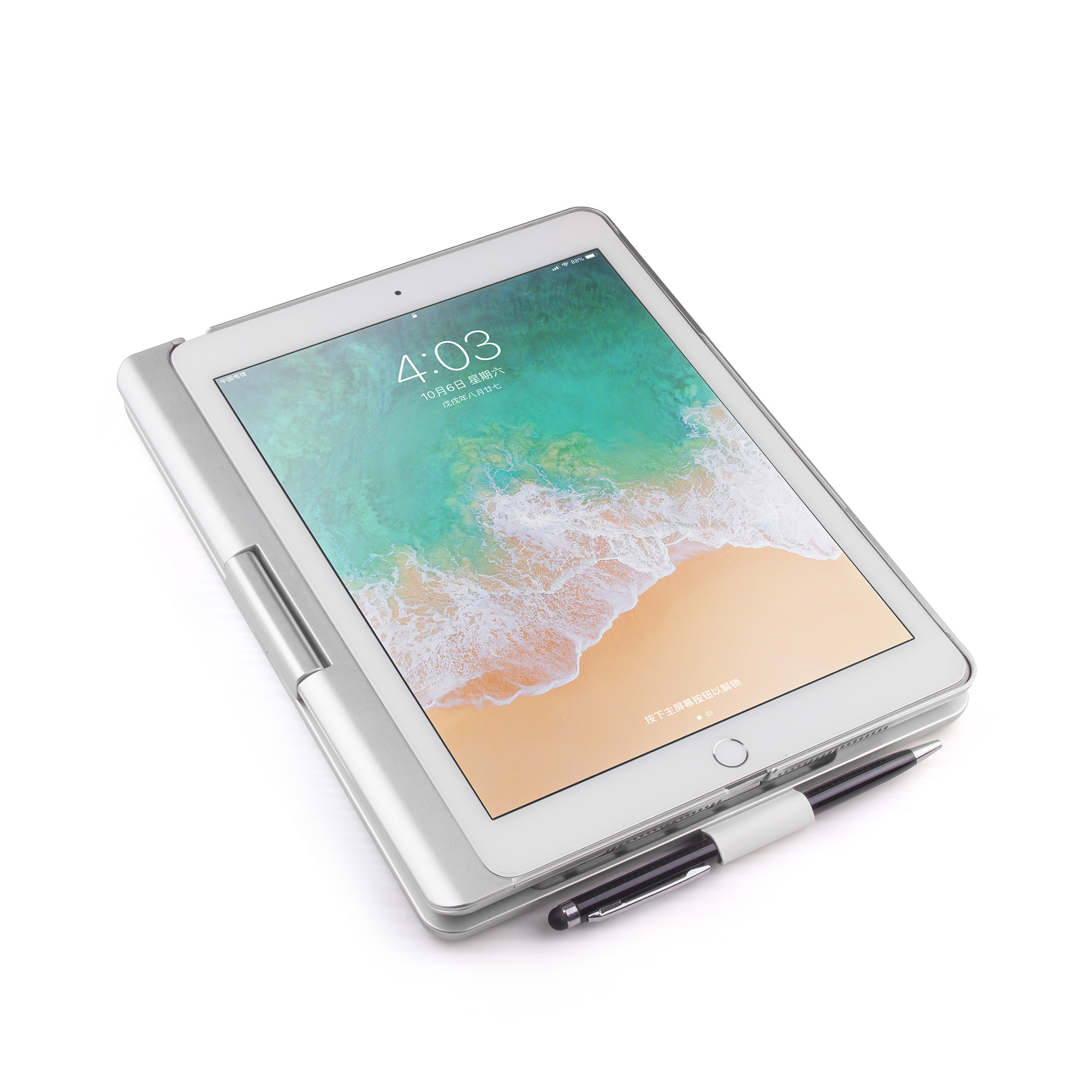 תאורה אחורית 360 Case מקלדת Bluetooth האלחוטית תואר הסיבוב עבור 11 אינץ Pro iPad 2018 עם תאורה אחורית LED צבעוני (3)