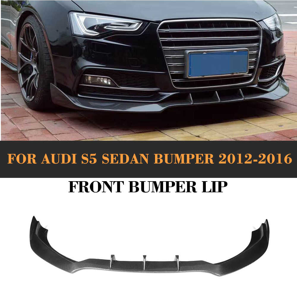 Carbon Fiber Car Front Bumper Lip Spoiler for Audi A5 Sline S5 8T 2012 - 2016 Not for A5 Standard Car Spoiler Sticker