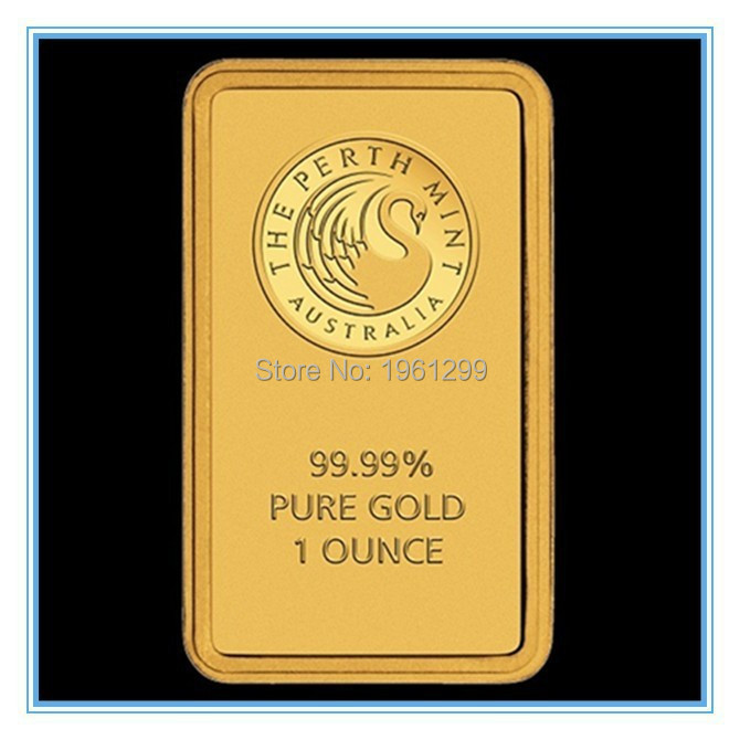 Sample order,2pcs/lot weight about 31gram/pcs Non magnetic 24k gold plated perth mint australia bullion bar,replica gold bar