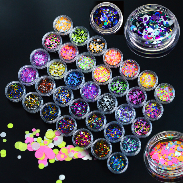 35 bottle/sets Mixed 1-3mm Plastic Thin Round Sticker Nail Art Mini Paillette Nail Decorations Sticker Laser Glitter Tips P01-35