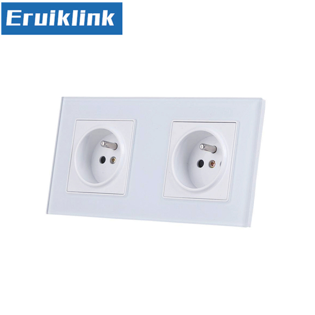 Eu Standard Double Gang Socket France Type Wall White Tempered Gl Panels 16a Plug Outlet Ac110 250v