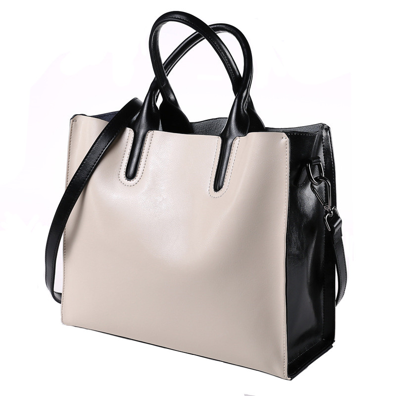 Fashion Black and White Handbags Women Shoulder Bags Genuine Leather Totes Brand Designer Hand Bag for Ladies Casual Bolsa Mujer black and white two color hot selling elegant ladies clutch bag fashion women handbags wedding handbags c696
