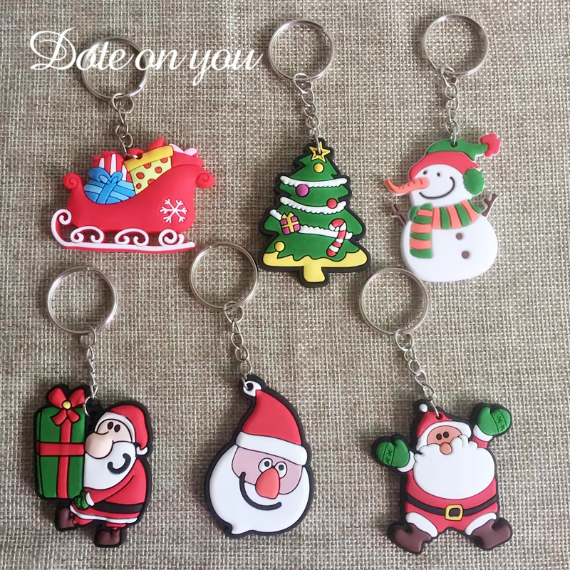 Key Chain Jewelry Findings Santa Bunny Keychain Claus Snowman Key Ring Deer Christmas Tree Charm Keychian Keyring Jewelry Gift