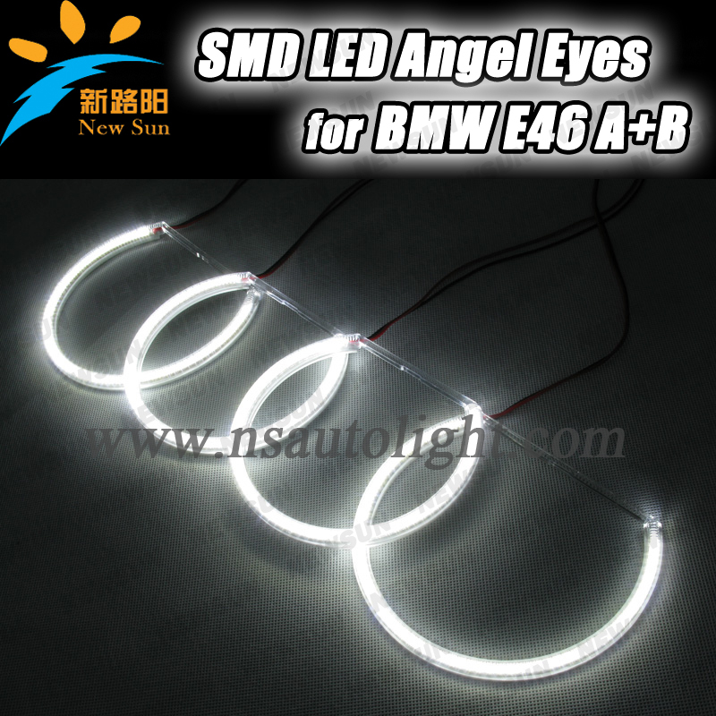Led rings white 3014 SMD led angel eyes headlight halo ring marker 131mm 145mm for bmw E46 non projector cotton smd led angel eyes rings for bmw e38 e36 e39 e46 smd led halo rings kit for e46 with projector 4 131mm led smd angel eyes