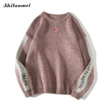 2018 Winter Men Casual Korea Fashion Knitted Loose Sweaters Contrast Color Letter Wool Long Sleeve Autumn Streetwear Pullover