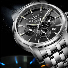 Alta calidad Nedss gas tritio luminoso azul para hombre de zafiro resistente al agua 100 m reloj mecánico automático militar reloj de acero