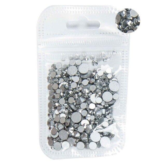 350 шт, 5 грамм, смешанные размеры, ss3-ss30, синий/зеленый/розовый/белый опал, 3D хрустальные стразы для дизайна ногтей, плоские с оборота стеклянные украшения для ногтей - Цвет: Silver Hematite