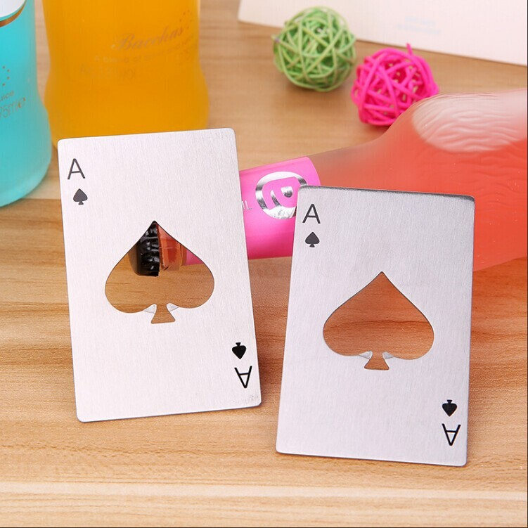 Perfect Opener Poker Shape Stainless Steel Spades A Wine Jar Beer Bottle Can Household High Quality Home Bar Kitchen Tools