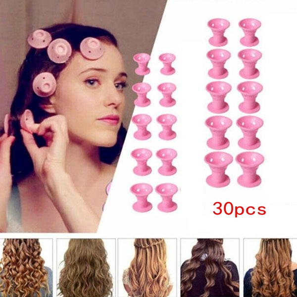 30pcs/set Soft Rubber Magic Hair Care Rollers Silicone Hair Curler No Heat Hair Styling Tool Blue