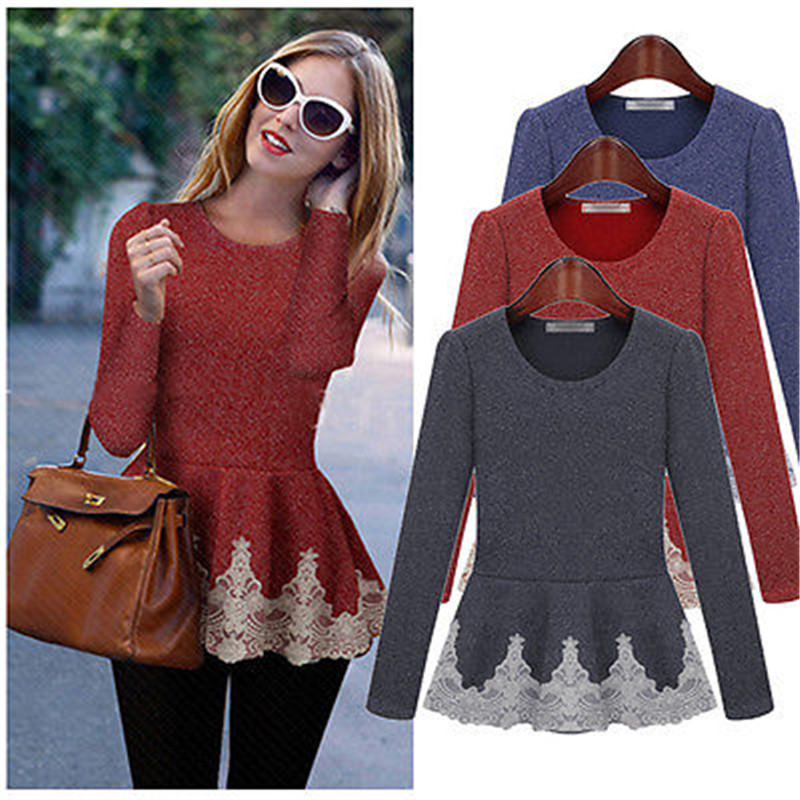 Autumn NEW Women T-Shirt Casual Long Sleeve Cotton Blended + Polyester Crew Neck Slim Fit Peplum Frill Tops Lace Gray T-Shirt