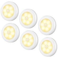 цены JXSFLYE Motion Sensor Light, Cordless Battery-Powered 6 LED Night Light, Stick-Anywhere Closet Lights Stair Lights(6 PACKS)