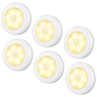 JXSFLYE Motion Sensor Light, Cordless Battery Powered 6 LED Night Light, Stick Anywhere Closet Lights Stair Lights(6 PACKS)