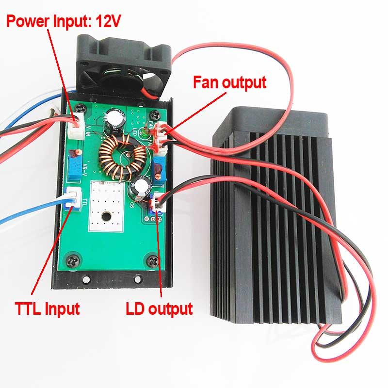 High Power 3000mW Laser Module Blue 450nm with TTL Modulation Two Fans DC12V Input 445nm 3W blue Laser Module