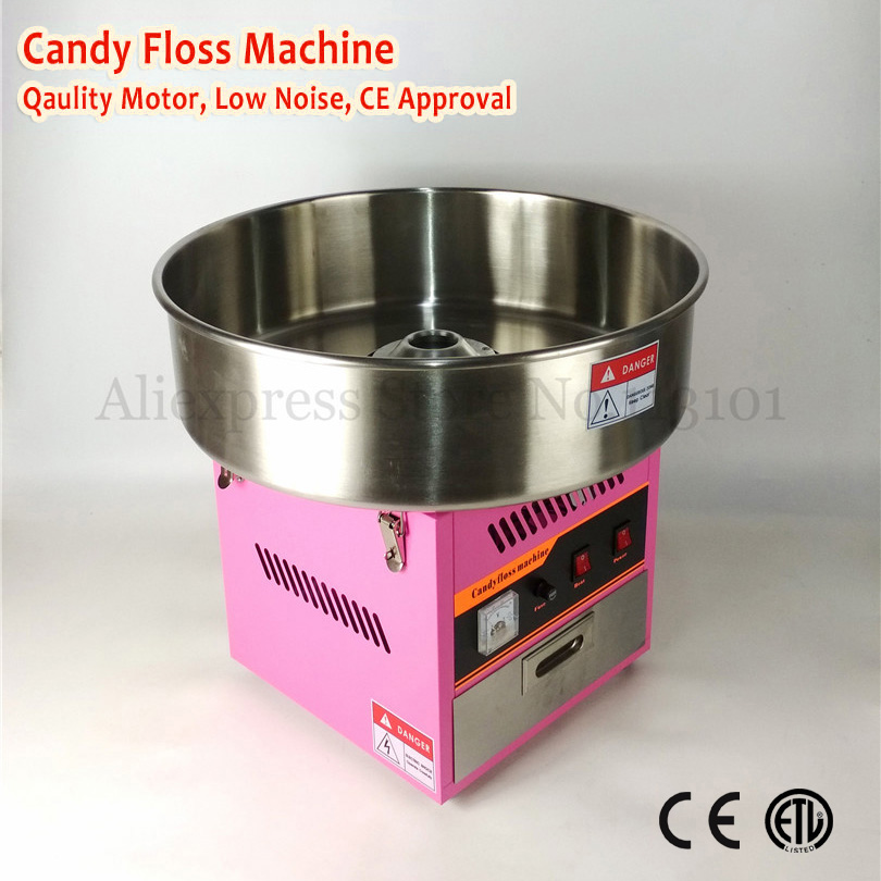 Electric Commercial Cotton Candy Maker Fairy Floss Machine 52cm Bowl Pink Color 220V 1030W with Gifts electric candy floss maker pink cotton candy machine with stainless steel bowl 420w 220v diy home use