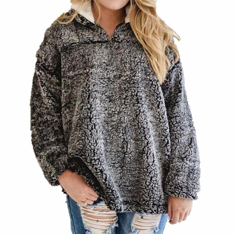 Women Girls Faux Fur Hoodie Zipper Neck Sweatshirt Top -8459