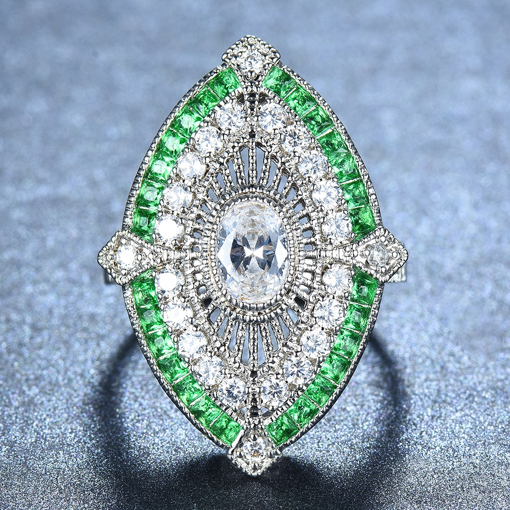 Female Male Antique 925 Silver Big Wide Rings For Women Men Green Stone White Zircon Wedding Bands Turkish Jewelry Emerald Ring