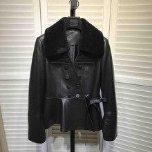 Корейский стиль, облегающие Куртки из натуральной овечьей кожи для женщин,, зимние двубортные куртки из натуральной кожи, короткое пальто D955