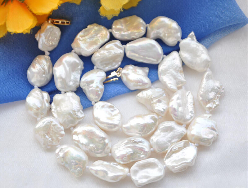 A 20mm NATURE white DENS keshi REBORN pearl necklace