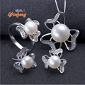 [Yinfeng] Increíble precio de joyería de moda 100% verdadera perla natural de agua dulce conjunto de joyas para las mujeres blanco/rosa/perla púrpura