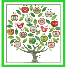NKF The Apple Tree Handcraft Needlepoint Kit Counted Stamped Canvas Chinese Cross