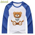 Baby T shirt Brown Bear Print For Kids Baby Spring Raglan Long Sleeve Tee Tops Costume Boy Girl 100%Cotton Shirts 24M-6T DCY085