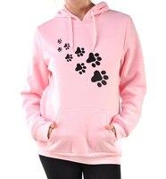 Casual Fleece Autumn Winter Sweatshirt Pullovers 2017 Kawaii Cat Paws Print Hoodies For Women Black Pink