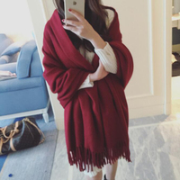 Female Fashion Solid Color Cashmere Scarf Lengthen Large Oversized Cashmere Shawl Female Classical Pure Color Cashmere