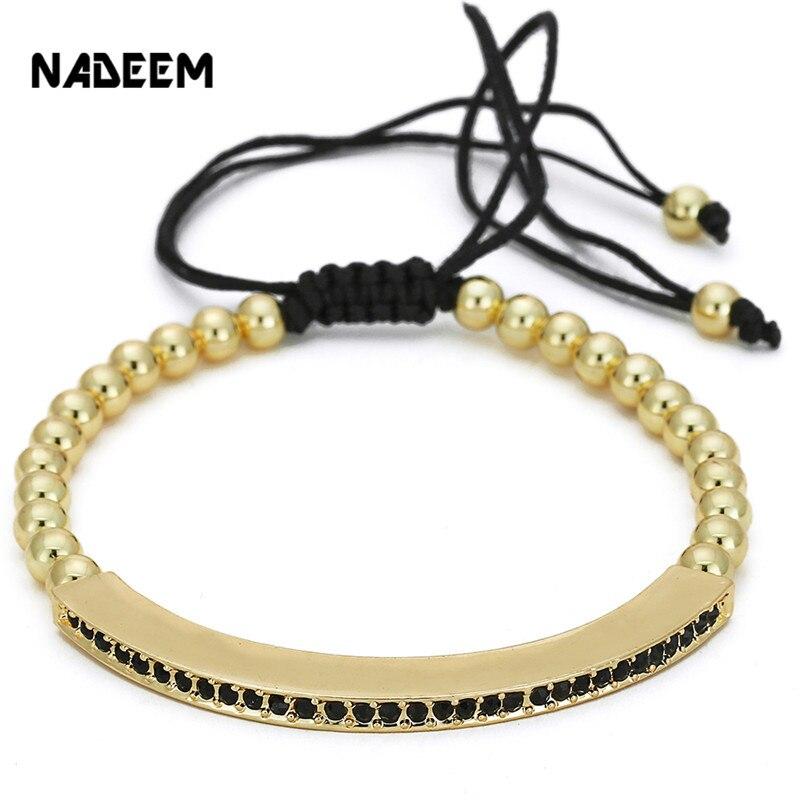 e30181f2e7b2 € 1.54 45% de DESCUENTO|NADEEM nuevo elegante Color oro mujeres ajustable  pulseras y brazaletes Anil Arjandas Micro Pave CZ trenzado Macrame pulsera  ...