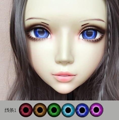 Sweet Girl Resin Half Head Bjd Kigurumi Mask With Eyes Cosplay Anime Role Lolita Mask Crossdress Doll Competent gl073