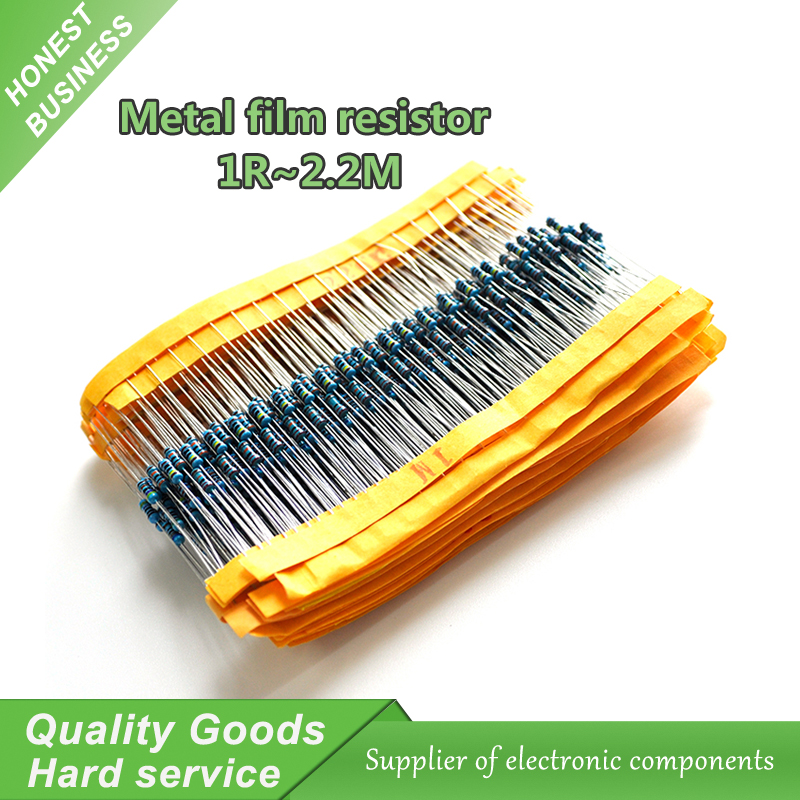 100pcs Metal film resistor series 1/4W 1R~2.2M 1% 100R 220R 1K 1.5K 2.2K 100 220 1K5 4.7K 10K 22K 47K 100K 2K2  4K7 ohm 0 25w 1 4w 10k