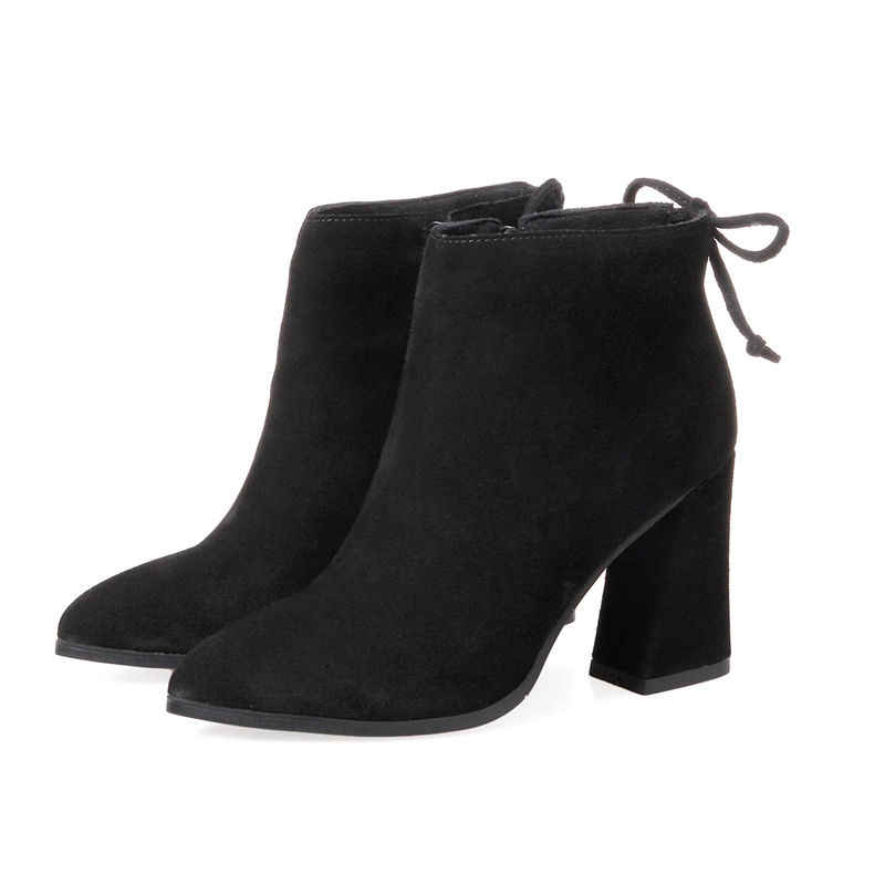 MORAZORA 2018 nowy jesień zima szpiczasty toe botki dla kobiet sexy super wysoki obcas krowy kozaki zamszowe buty na kwadratowym obcasie