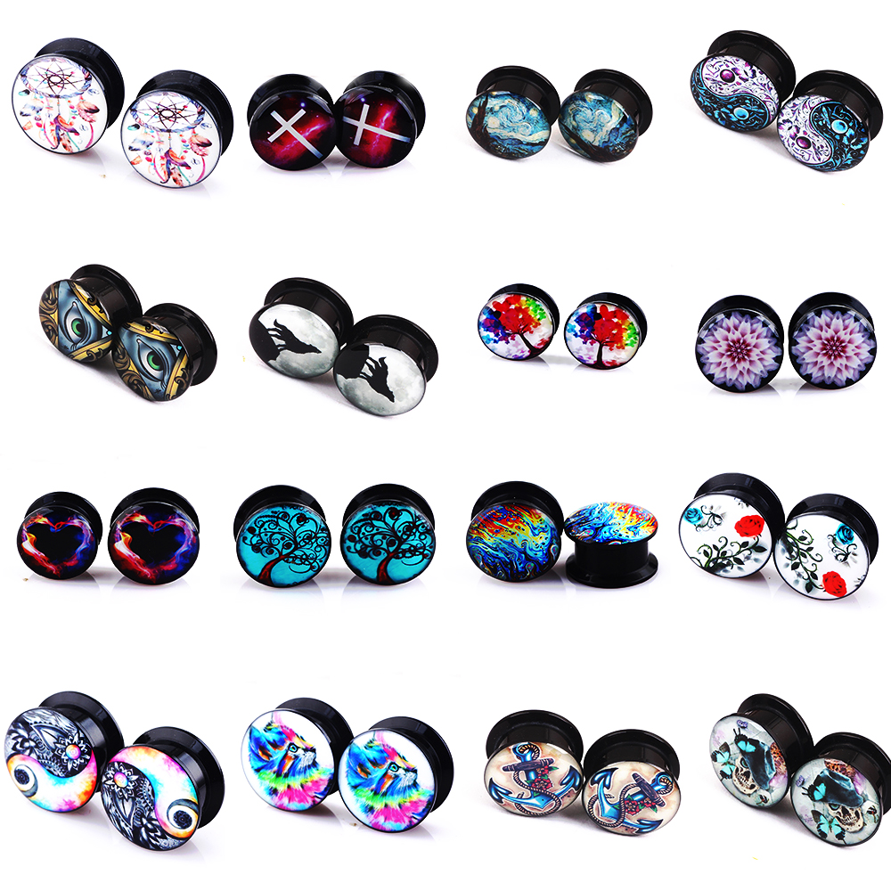 Jewelry Gauges Tunnels Ear-Plug Ear Expanders Piercing Ear-Stretcher Acrylic TIANCIFBYJS