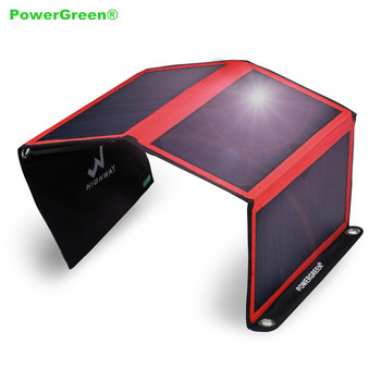 PowerGreen Solar Charger 21 Watts Folding Dual Ports 5V 2A Solar Power Bag Phone Battery Bank for Iphone for Samsung