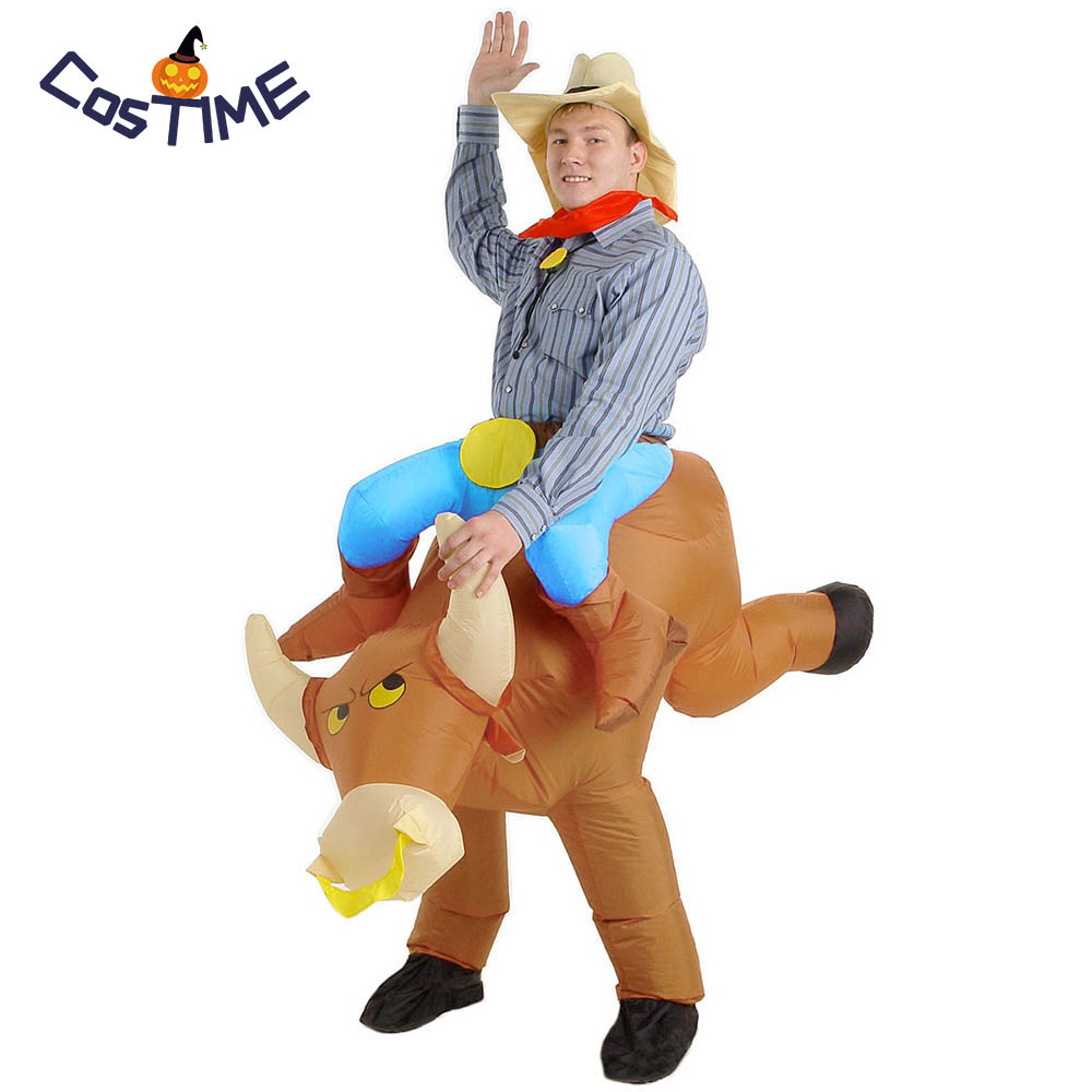 Adult Inflatable Bullrider Halloween Costume Ride a Bull Blow Up Cowboy Inflatable Costume Funny Fancy Dress Party Club Suit