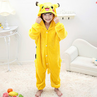 Anime Pocket Monster Costume Kids Pikachu Sleepwear Pajamas Carton Pokemon For Boys Girls Halloween Cosplay Pajamas
