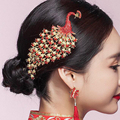 Traditional Chinese Wedding Hair Accessories Vintage Red Crystal Rhinestone Peacock Bridal Hair Combs Bride Tiaras