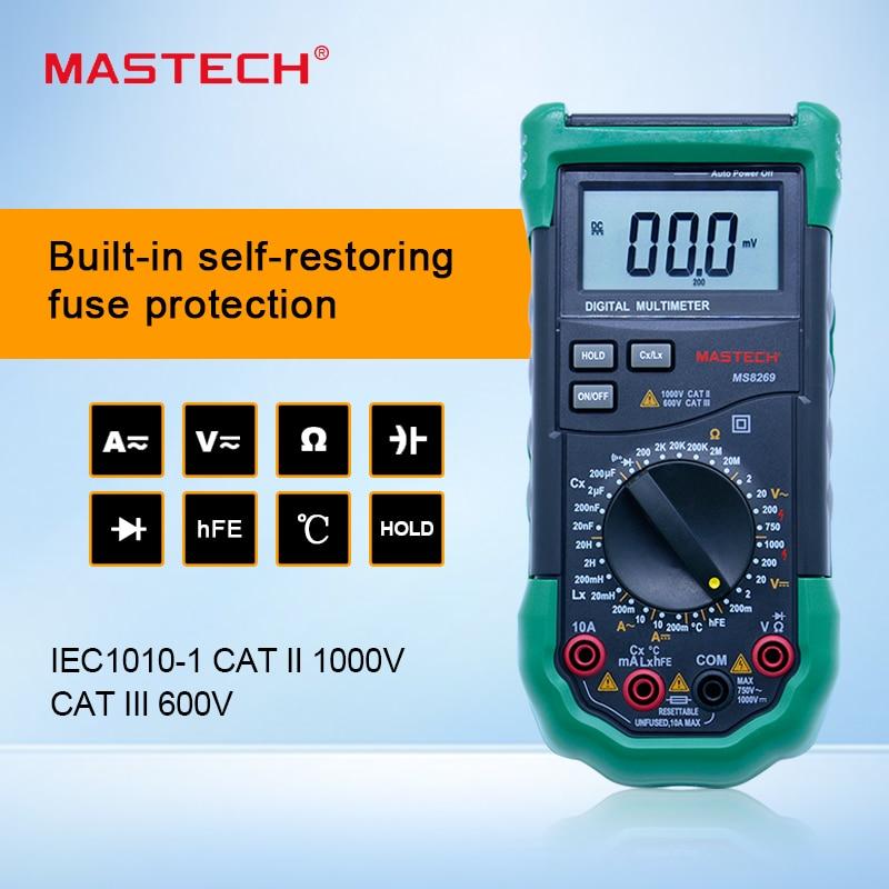 Mastech brand MS8269 3 1/2 Digital Multimeter LCR Meter AC/DC Voltage Current Resistance Capacitance Temperature Inductance Test mastech my6243 portable 3 1 2 1999 count digital lcr meter inductance capacitance tester