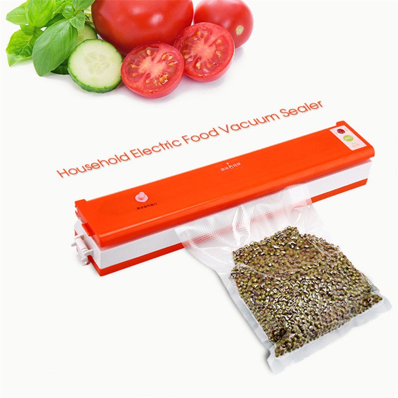 New Arrival Electric Vacuum Food Sealer Household Automatic Vacuum Packing Plastic Sealing Machine Household Kitchen Appliances jiqi food vacuum sealer automatic vacuum wet and dry sealing packer electric plastic packing machine fruits saver with free bags
