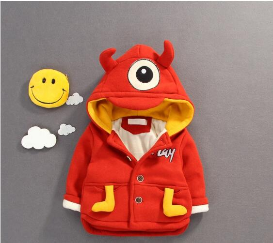 Baby Boy's Fashion Hooded Coats 2017 Winter Cartoons Fleece Eye Long Sleeve Thicken Jackets Children's Clothing Warm Outerwear warm thicken baby rompers long sleeve organic cotton autumn