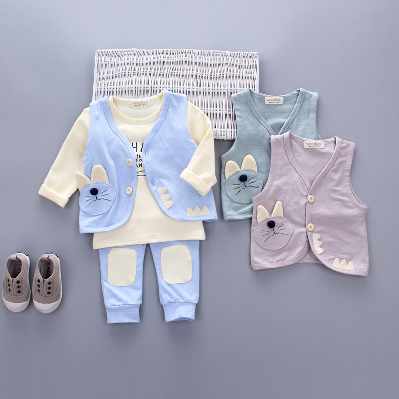3pieces/set Girls boy Sports Suits cat baby clothes set Autumn spring Kids tracksuit girls suit set dot sets Clothing outfits