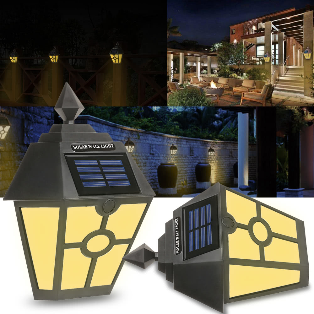 Retro LED Solar Powered Light Wall Light Waterproof IP65 Garden Lamp Night Light Induction Sensor Wall Lamp Street light Fence youoklight 0 5w 3 led white light mini waterproof solar powered fence garden lamp black