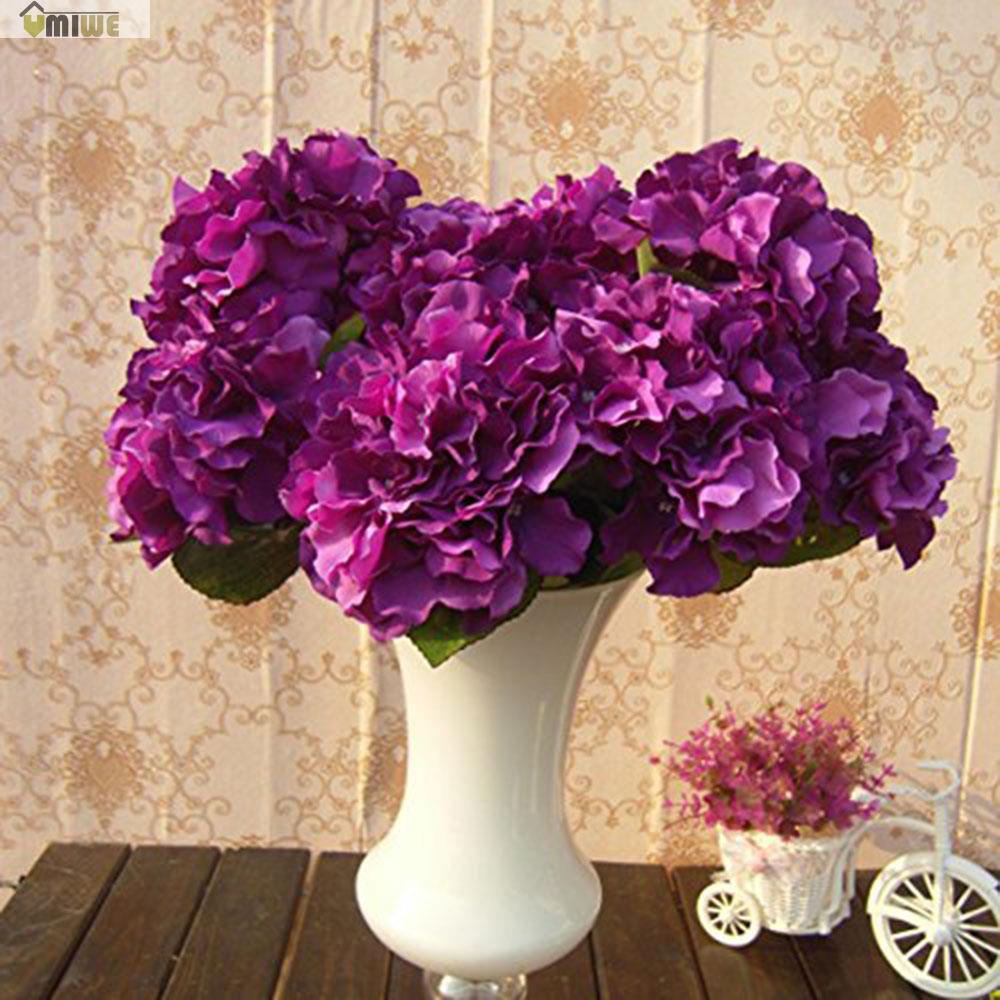 5 heads real touch artificial fake silk flower hydrangea leaf 5 heads real touch artificial fake silk flower hydrangea leaf artificial flowers silk bouquets for home party wedding decoration in artificial dried mightylinksfo